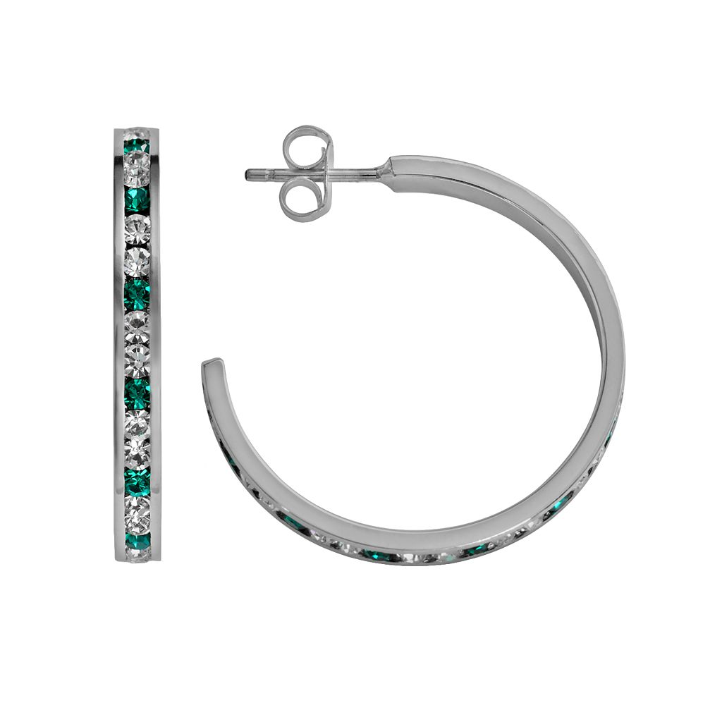 Traditions Sterling Silver Aqua & White Swarovski Crystal Hoop Earrings