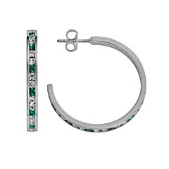 Traditions Sterling Silver Aqua & White Swarovski Crystal Hoop Earrings