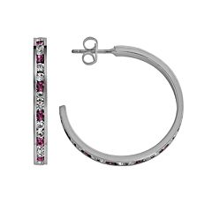 Traditions Sterling Silver Pink & White Swarovski Crystal Hoop Earrings