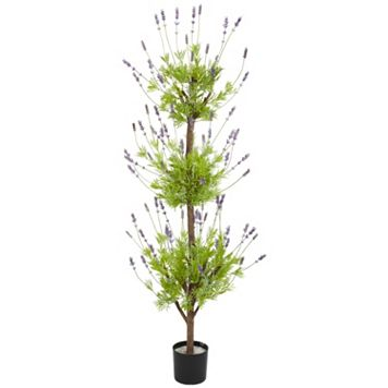 nearly natural 4-ft. Silk Lavender Topiary Tree