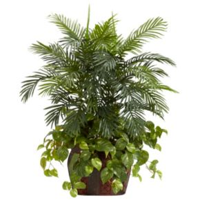nearly natural Silk 3 1/2-ft. Double Areca and Pothos Plant with Vase and Pothos