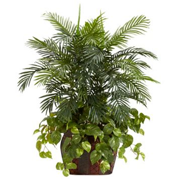 nearly natural Silk 3 1/2-ft. Double Areca & Pothos Plant