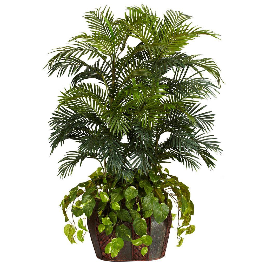 nearly natural Silk 4 1/2-ft. Double Areca & Pothos Plant
