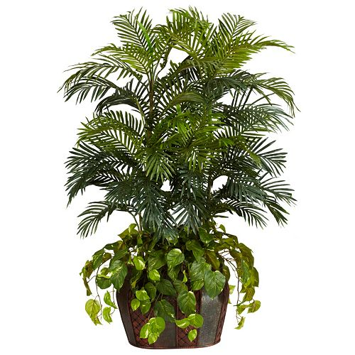 nearly natural Silk 4 1/2-ft. Double Areca & Pothos Plant