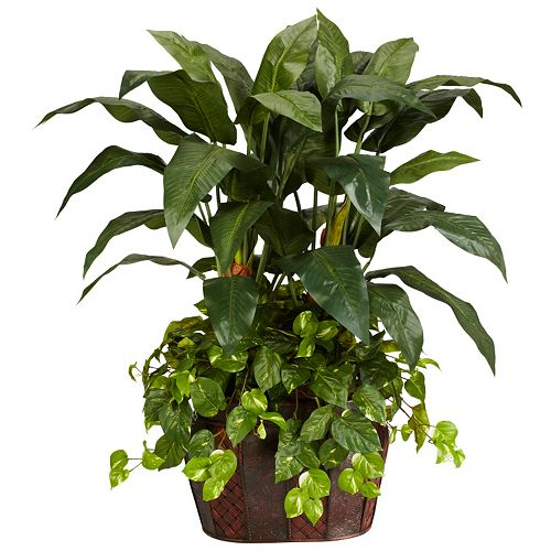nearly natural Silk 4-ft. Double Bird of Paradise & Pothos Plant