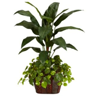 nearly natural Silk 4-ft. Bird of Paradise and Pothos Plant