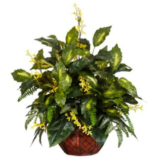 nearly natural Silk Forsythia and Mixed Greens Plant