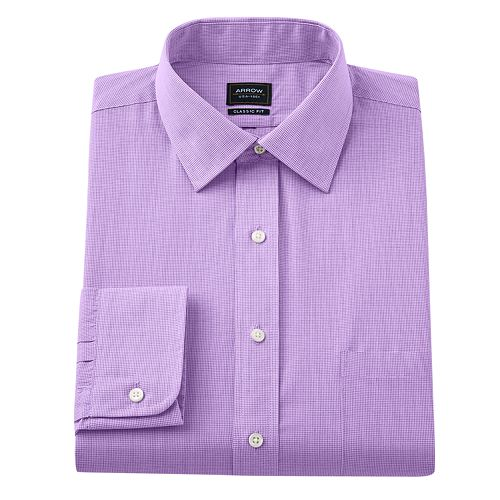 Arrow Classic-Fit Micro-Checked Wrinkle-Free Spread-Collar Dress Shirt - Men