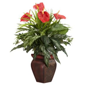nearly natural Silk Mixed Greens and Anthurium Plant