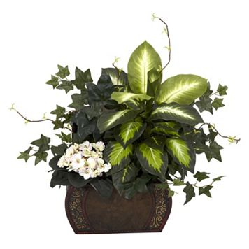 nearly natural Silk African Violet, Dieffenbachia & Ivy Plant