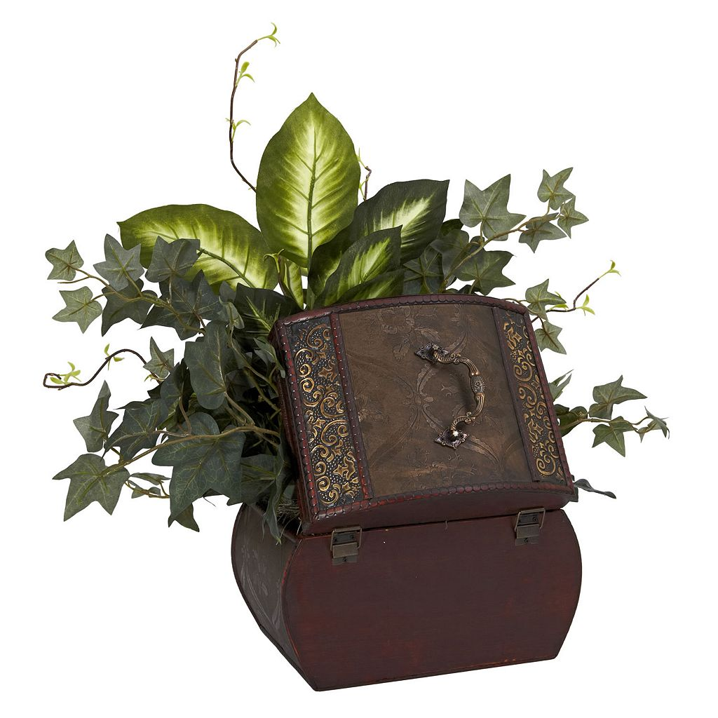 nearly natural Silk African Violet, Dieffenbachia and Ivy Plant