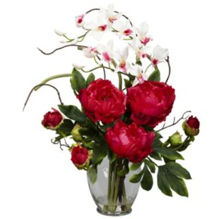 nearly natural Liquid Illusion Silk Peony and Orchid Floral Arrangement