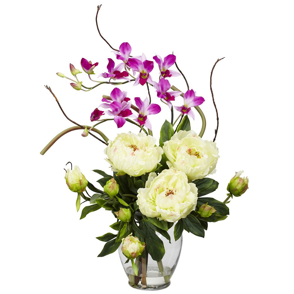 nearly natural Liquid Illusion White Silk Peony and Orchid Floral Arrangement