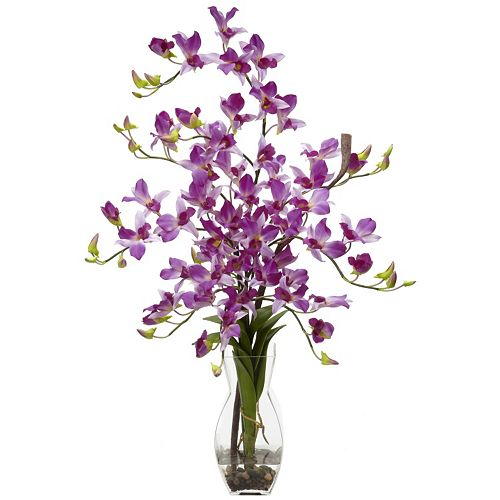 nearly natural Liquid Illusion Silk Dendrobium Orchid Floral Arrangement