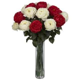 rly natural Liquid Illusion Fancy Silk Red & White Rose Floral Arrangement