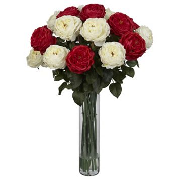 nearly natural Liquid Illusion Fancy Silk Red & White Rose Floral Arrangement