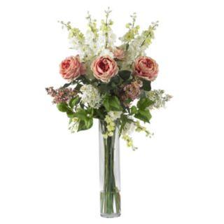 nearly natural Liquid Illusion Silk Rose, Delphinium and Lilac Floral Arrangement
