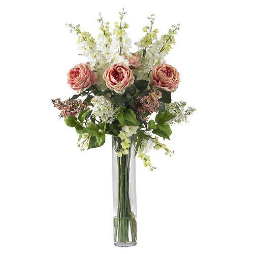 nearly natural Liquid Illusion Silk Rose, Delphinium & Lilac Floral Arrangement