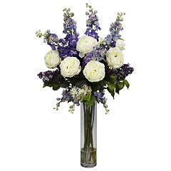 nearly natural Liquid Illusion Silk Rose, Delphinium & Lilac Floral Arrangement