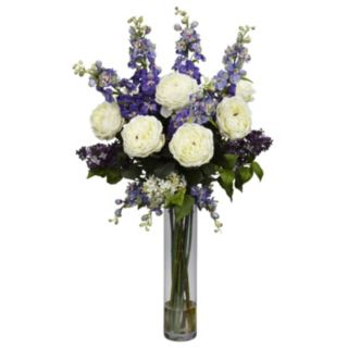 nearly natural Liquid Illusion Silk Rose, Delphinium and Lilac Floral Arrangement
