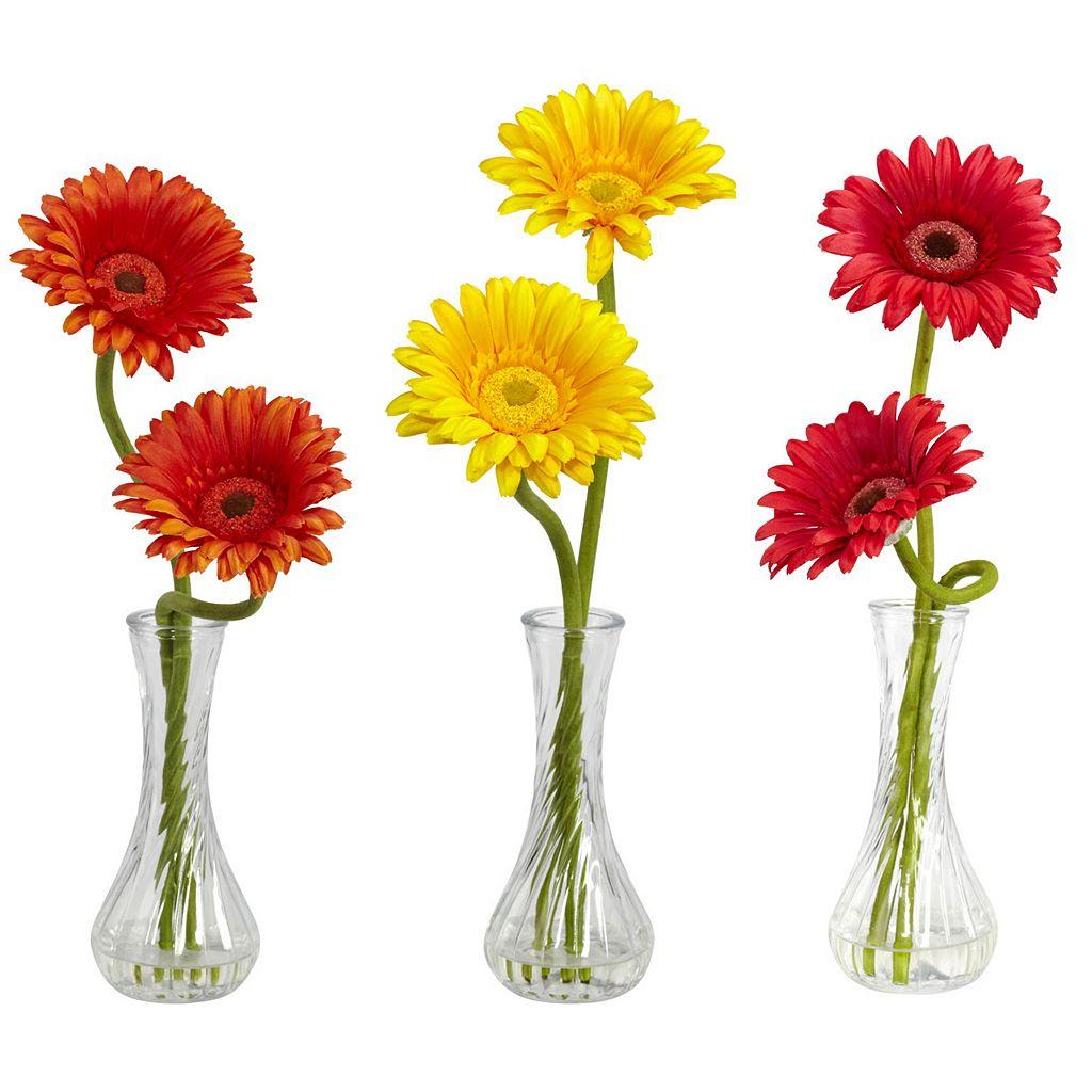 nearly natural 3-pc. Liquid Illusion Silk Gerber Daisy Floral Arrangement Set