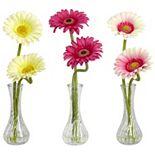 nearly natural 3-pc. Silk Gerber Daisy Floral Arrangement Set