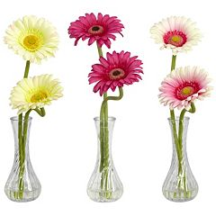 nearly natural 3 pc Silk Gerber Daisy Floral Arrangement Set