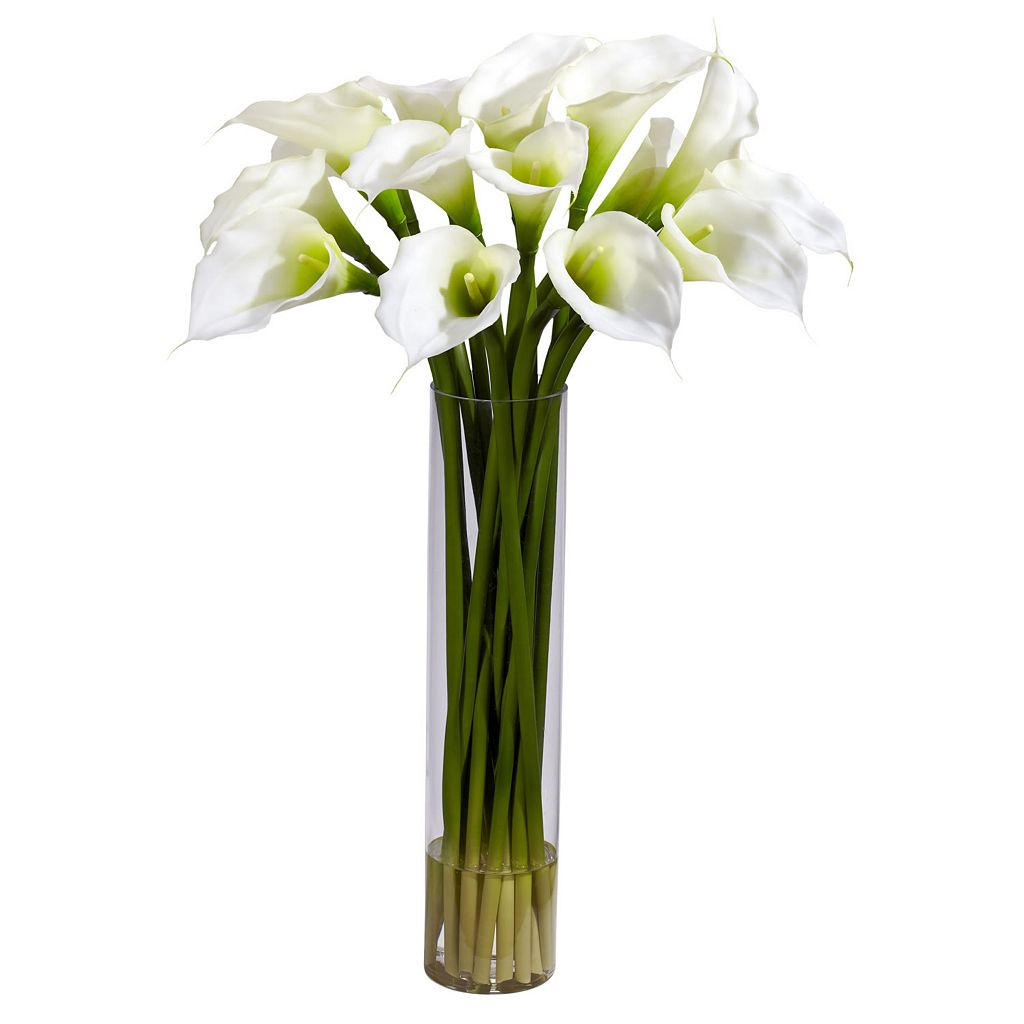 nearly natural Liquid Illusion 27-inch Silk Calla Lily Floral Arrangement