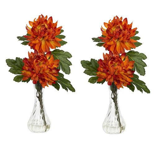 nearly natural 2-pc. Liquid Illusion Silk Mum Floral Arrangement Set