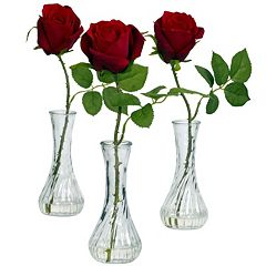 nearly natural 3 pc Liquid Illusion Silk Rose Floral Arrangement Set