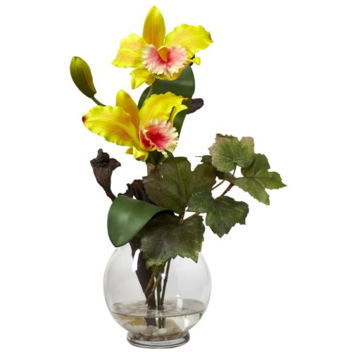 nearly natural Liquid Illusion Silk Cattleya Floral Arrangement