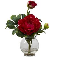 nearly natural Liquid Illusion Silk Peony Fluted Vase Floral Arrangement