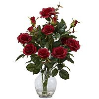 nearly natural Liquid Illusion Silk Rose Bush Floral Arrangement