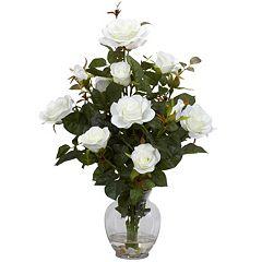 nearly natural Liquid Illusion Silk Rose Bush Floral Arrangement