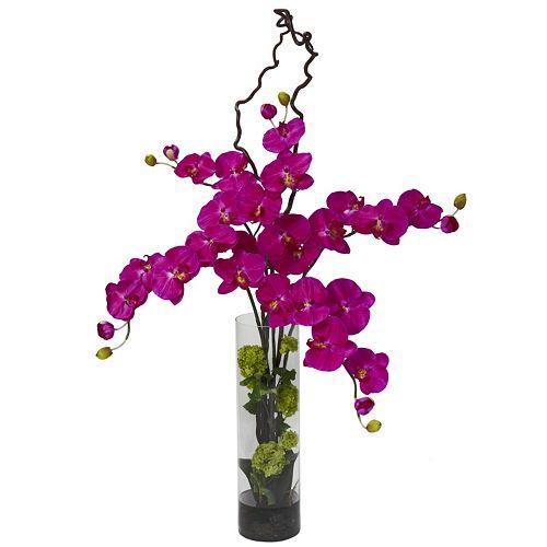 nearly natural Liquid Illusion Silk Phalaenopsis & Hydrangea Floral Arrangement