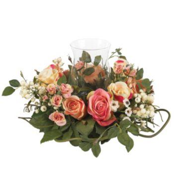 nearly natural Silk Rose Pillar Candle Holder