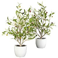 nearly natural 2 pc Silk Olive Tree Set