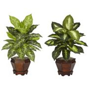 nearly natural 2 pc Silk Dieffenbachia Potted Plant Set