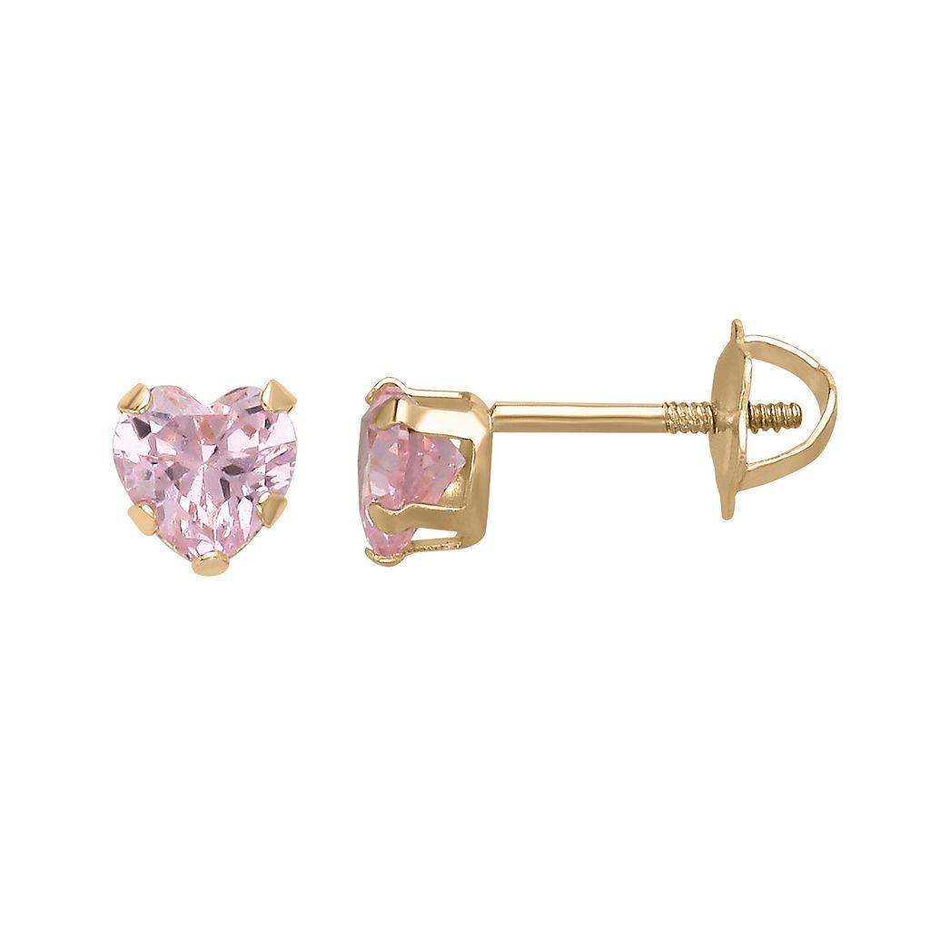 14k Gold Pink Cubic Zirconia Heart Stud Earrings - Kids