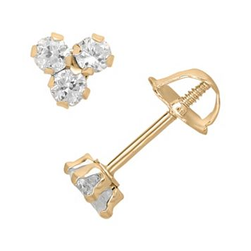 14k Gold Cubic Zirconia Cluster Stud Earrings - Kids