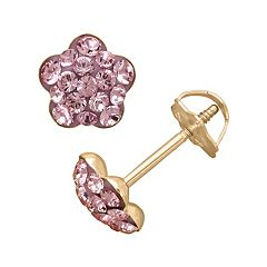 14k Gold Light Rose Crystal Flower Stud Earrings - Made with Swarovski Crystals - Kids