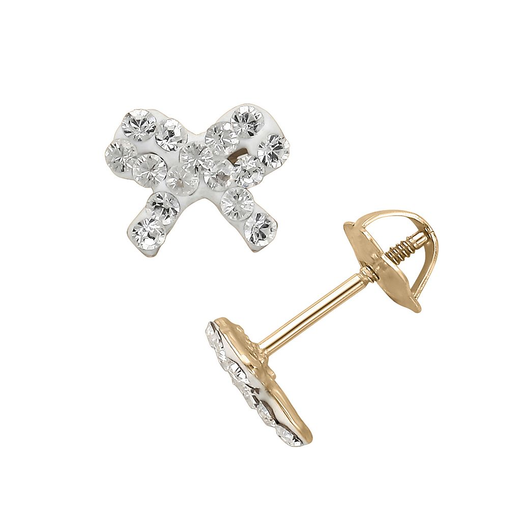 14k Gold Crystal Bow Stud Earrings - Made with Swarovski Crystals - Kids