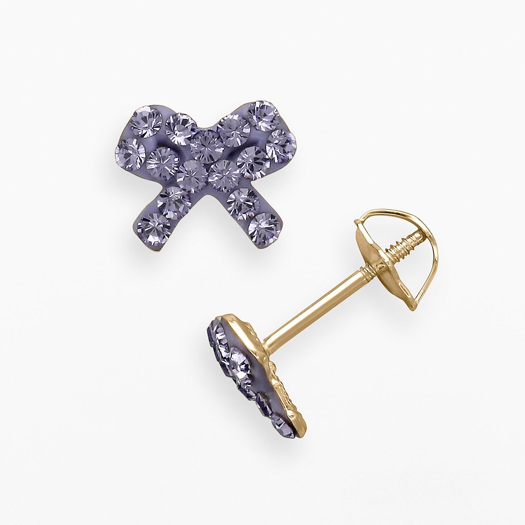 14k Gold Purple Crystal Bow Stud Earrings - Made with Swarovski Crystals - Kids