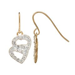 14k Gold Crystal Heart Drop Earrings - Kids