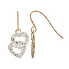14k Gold Crystal Heart Drop Earrings - Kids
