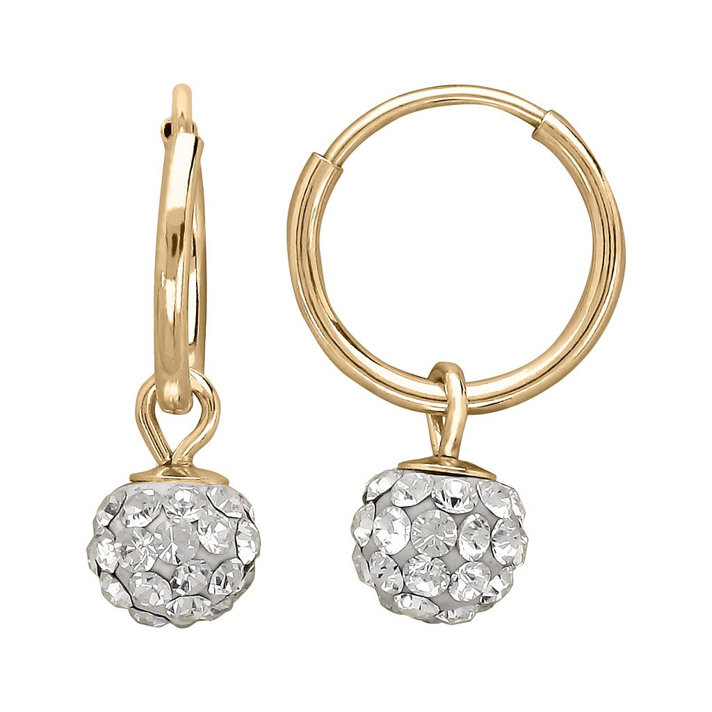 14k Gold Crystal Ball Hoop Earrings - Kids