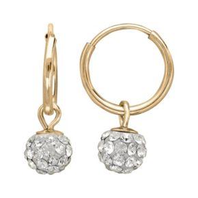 14k Gold Crystal Ball Hoop Earrings - Kids