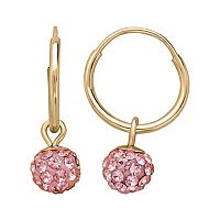 14k Gold Pink Crystal Ball Hoop Earrings - Kids