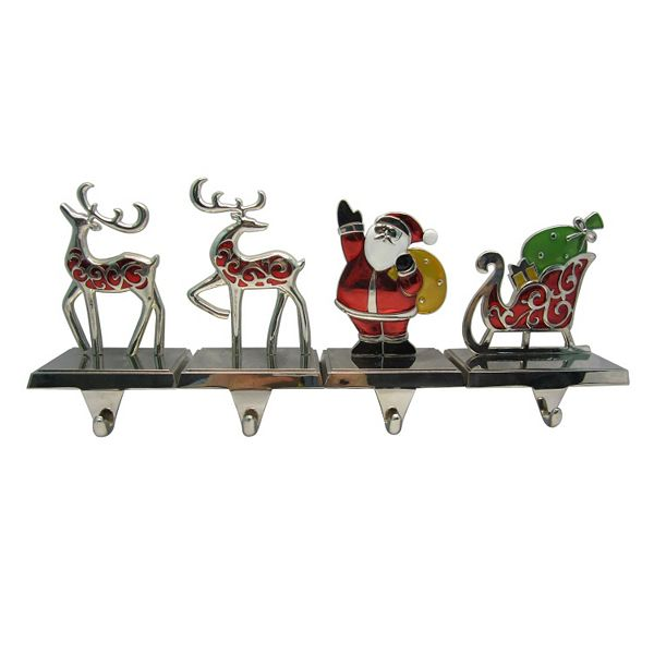 st nicholas square 4 pc santa and reindeer. Black Bedroom Furniture Sets. Home Design Ideas