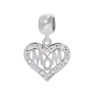 """Individuality Beads Sterling Silver Crystal Openwork """"Mom"""" Heart Charm"""